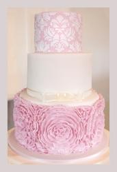 Pink Peony Ruffle Wedding Cake